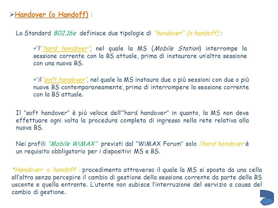 Handover (o Handoff) : Lo Standard 802.16e definisce due tipologie di handover (o handoff) :