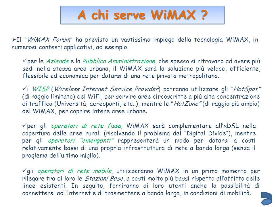 A chi serve WiMAX Il WiMAX Forum ha previsto un vastissimo impiego della tecnologia WiMAX, in numerosi contesti applicativi, ad esempio:
