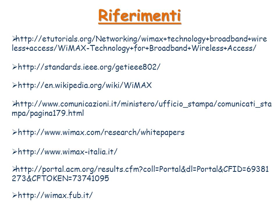 Riferimenti http://etutorials.org/Networking/wimax+technology+broadband+wireless+access/WiMAX-Technology+for+Broadband+Wireless+Access/