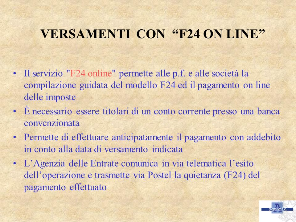 VERSAMENTI CON F24 ON LINE