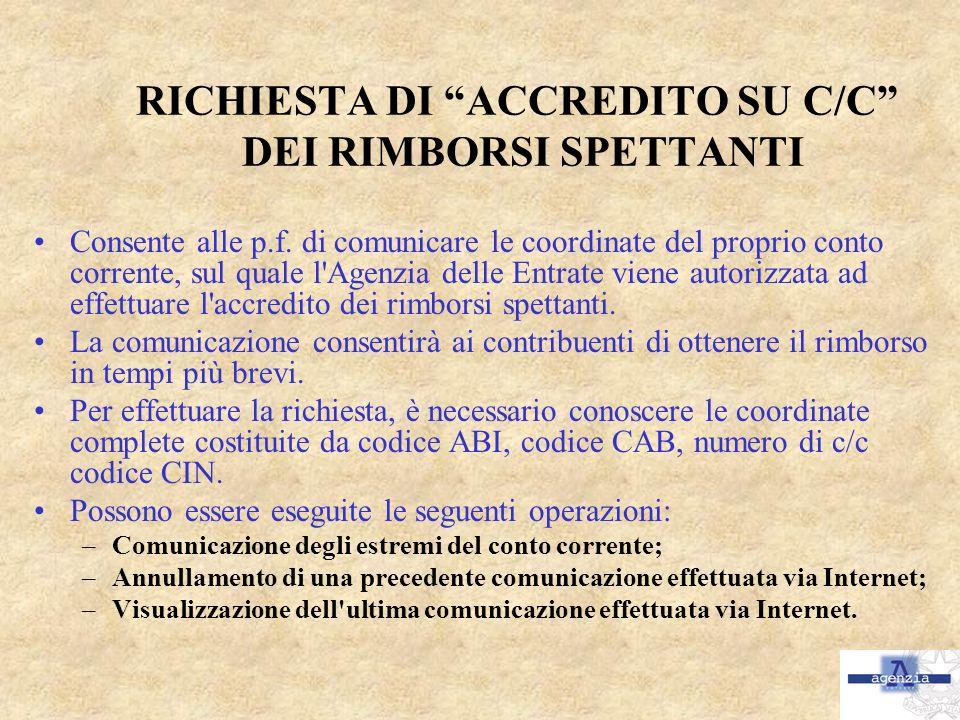 RICHIESTA DI ACCREDITO SU C/C DEI RIMBORSI SPETTANTI