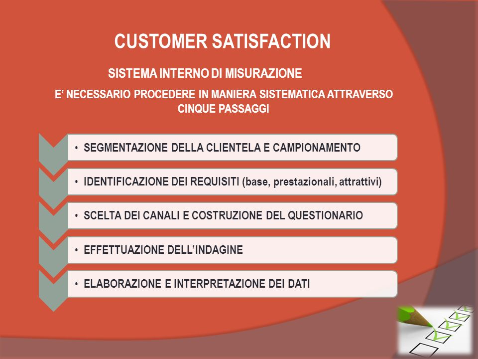 CUSTOMER SATISFACTION SISTEMA INTERNO DI MISURAZIONE