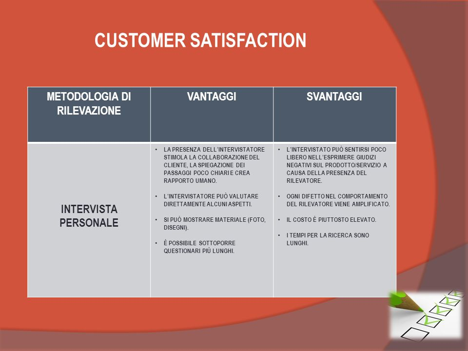 CUSTOMER SATISFACTION METODOLOGIA DI RILEVAZIONE