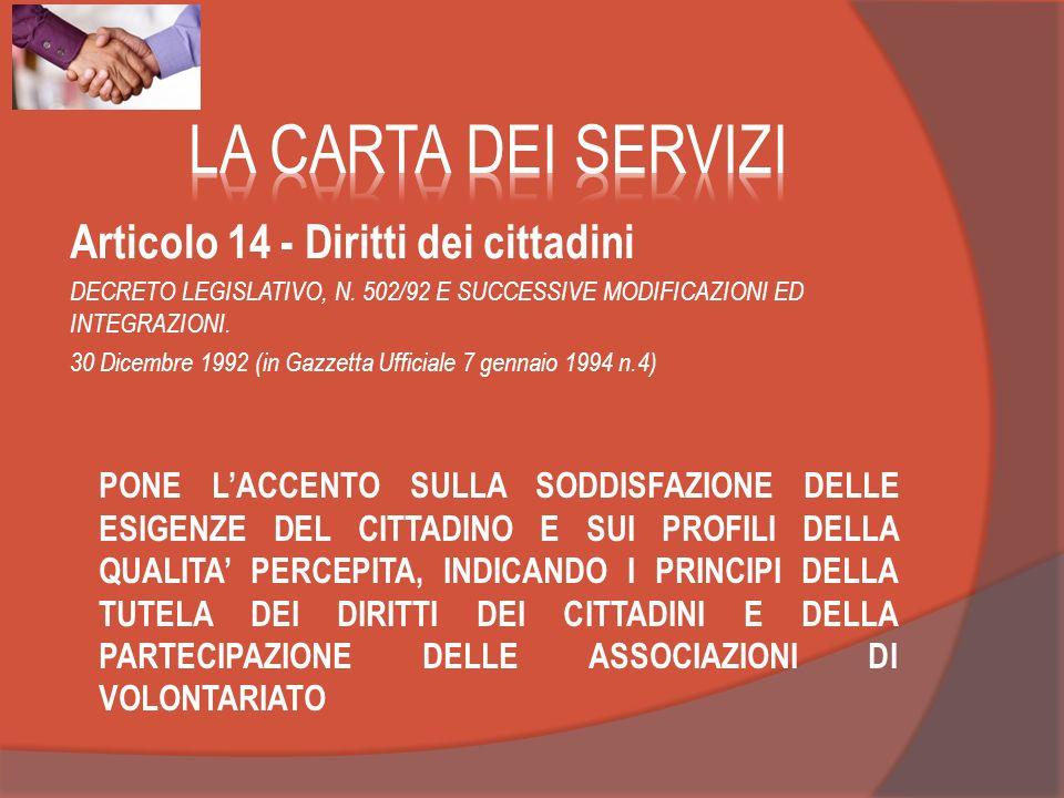 LA CARTA DEI SERVIZI Articolo 14 - Diritti dei cittadini