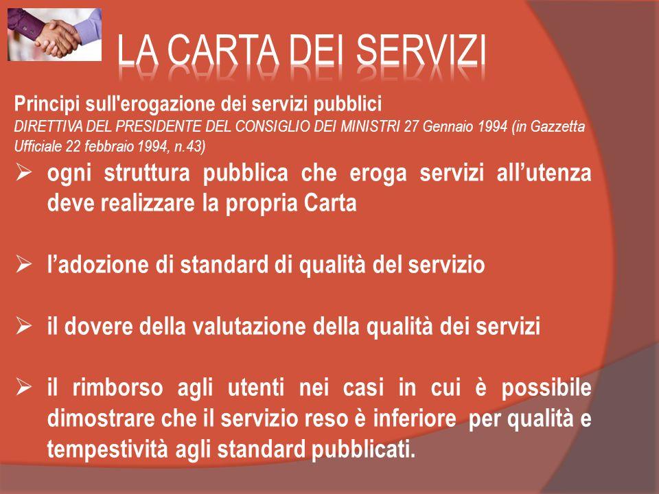 LA CARTA DEI SERVIZI Principi sull erogazione dei servizi pubblici.