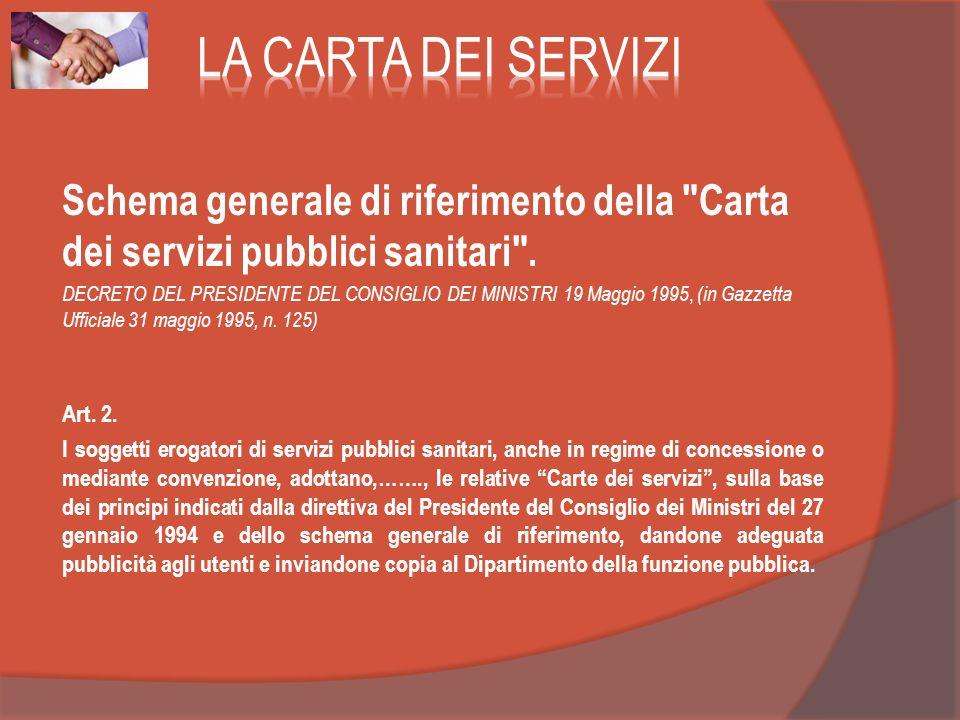 LA CARTA DEI SERVIZI Schema generale di riferimento della Carta dei servizi pubblici sanitari .