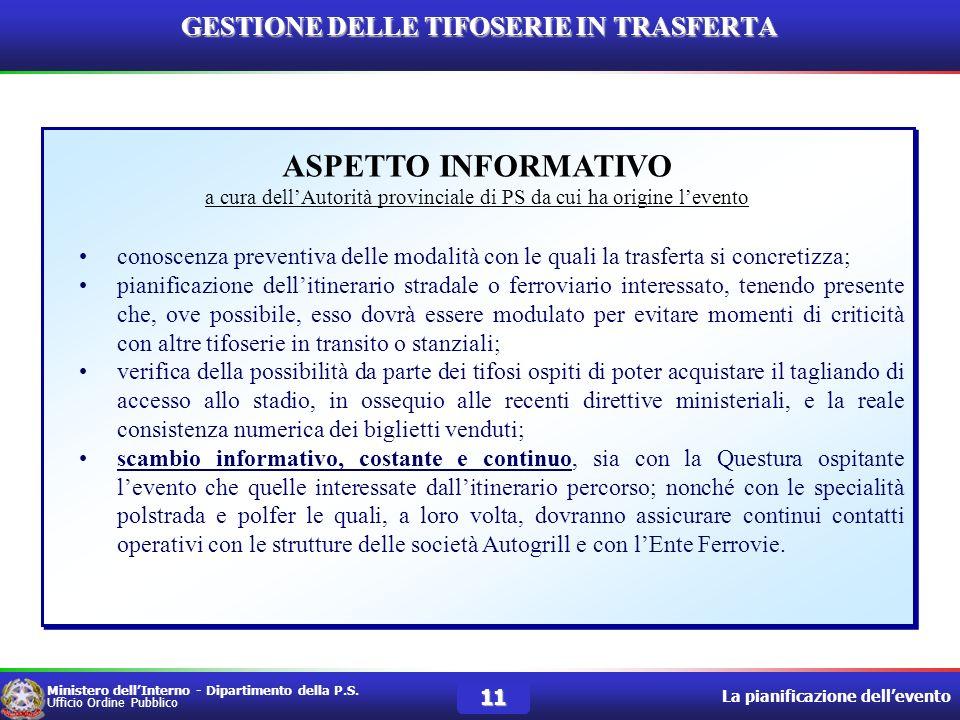 GESTIONE DELLE TIFOSERIE IN TRASFERTA