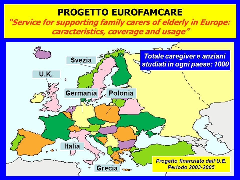 PROGETTO EUROFAMCARE Service for supporting family carers of elderly in Europe: caracteristics, coverage and usage