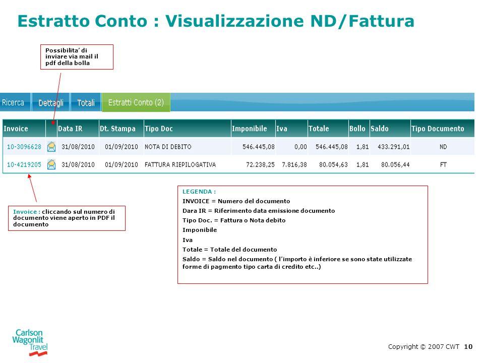 Estratto Conto : Visualizzazione ND/Fattura