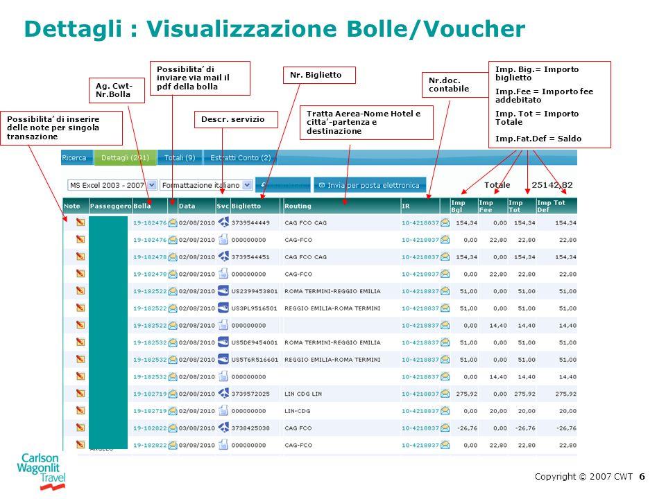 Dettagli : Visualizzazione Bolle/Voucher