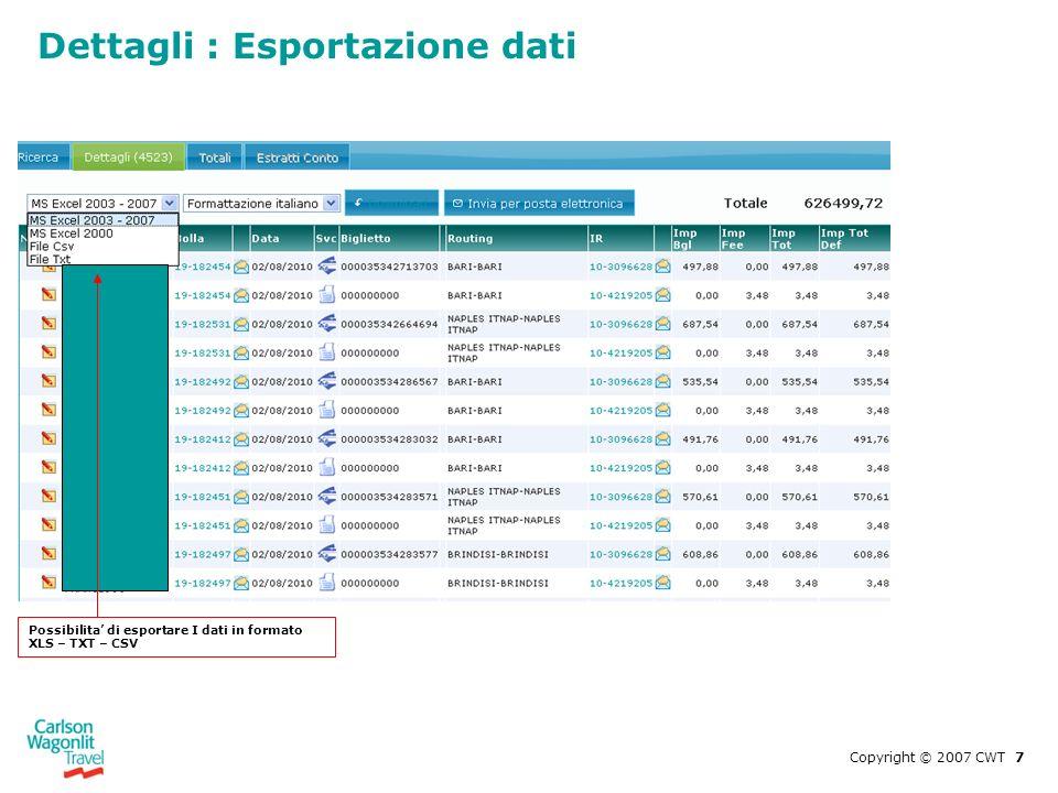 Dettagli : Esportazione dati