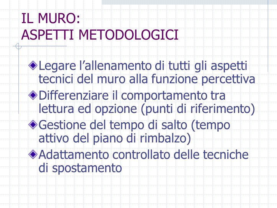 IL MURO: ASPETTI METODOLOGICI