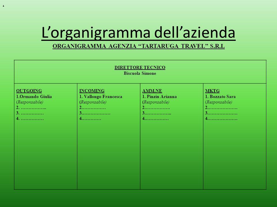 . L'organigramma dell'azienda ORGANIGRAMMA AGENZIA TARTARUGA TRAVEL S.R.L. DIRETTORE TECNICO. Biscuola Simone.
