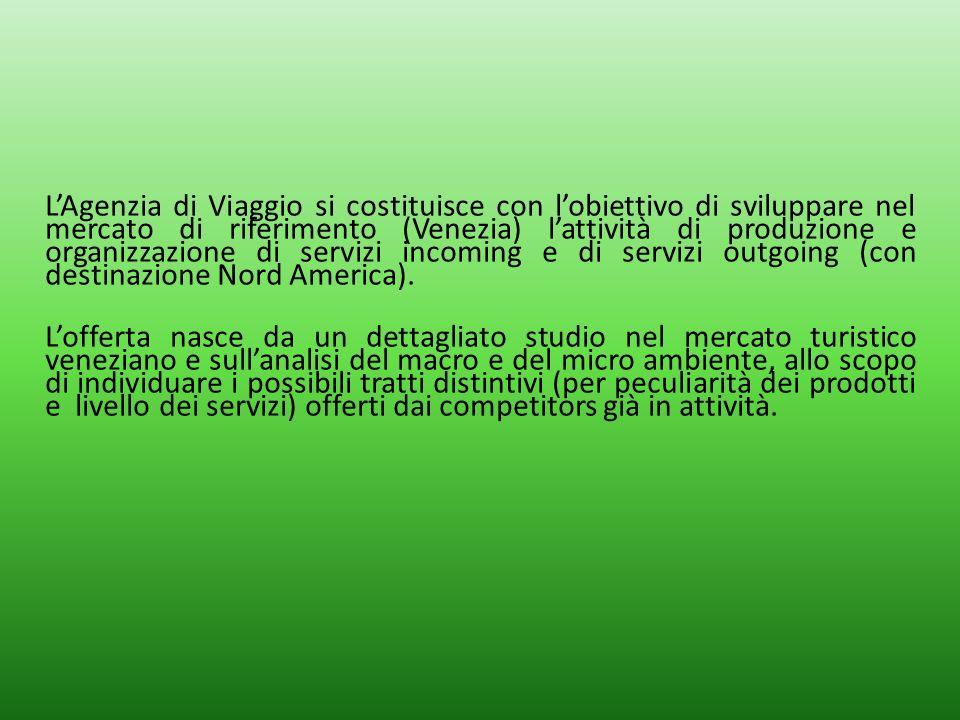L'Agenzia di Viaggio si costituisce con l'obiettivo di sviluppare nel mercato di riferimento (Venezia) l'attività di produzione e organizzazione di servizi incoming e di servizi outgoing (con destinazione Nord America).