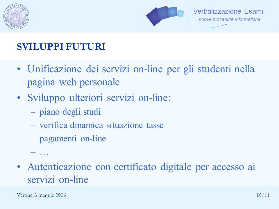 Sviluppo ulteriori servizi on-line: