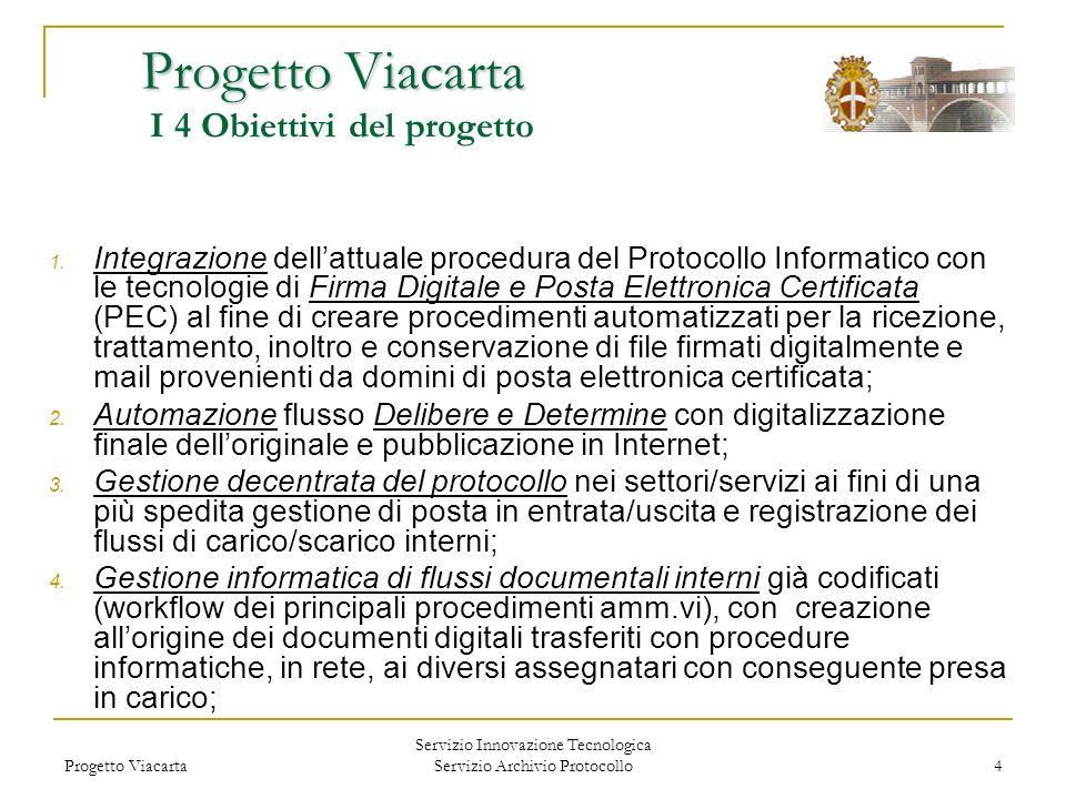 Progetto Viacarta I 4 Obiettivi del progetto