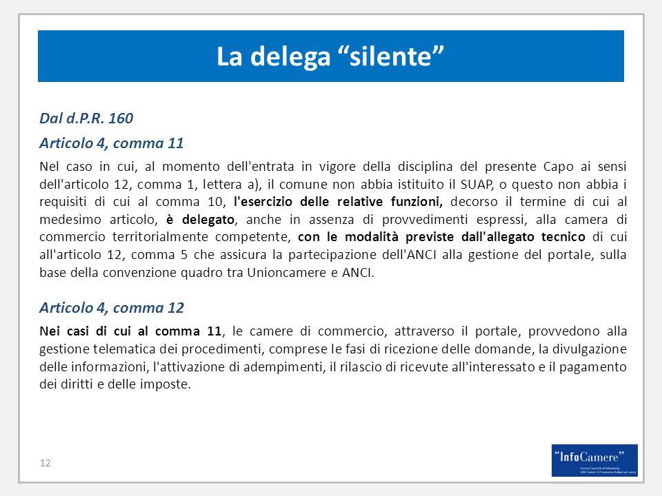 La delega silente Dal d.P.R. 160 Articolo 4, comma 11