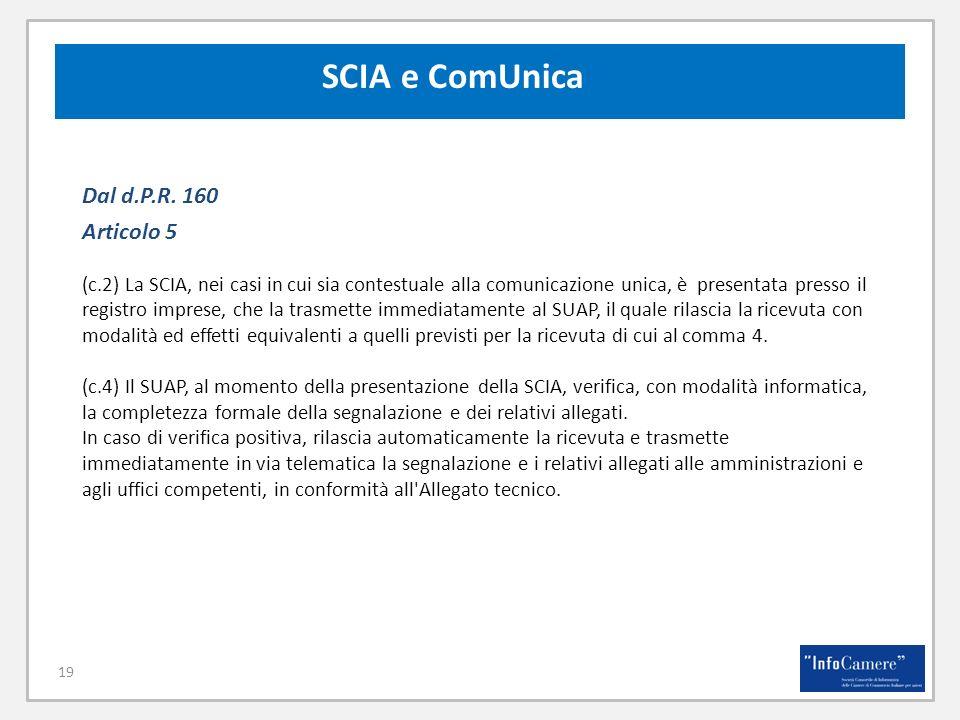 SCIA e ComUnica Dal d.P.R. 160 Articolo 5