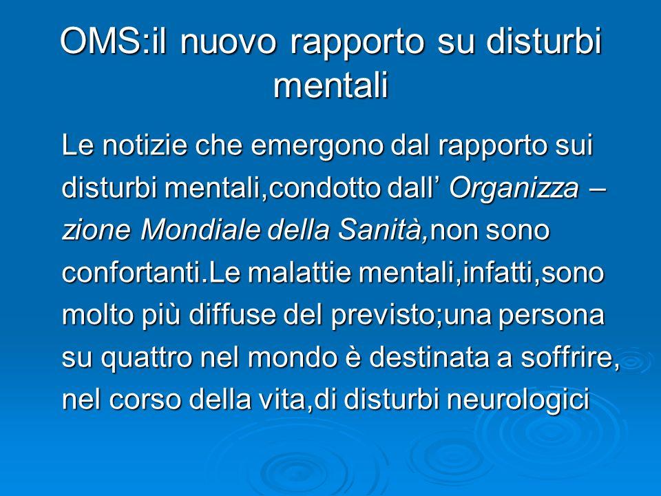 OMS:il nuovo rapporto su disturbi mentali