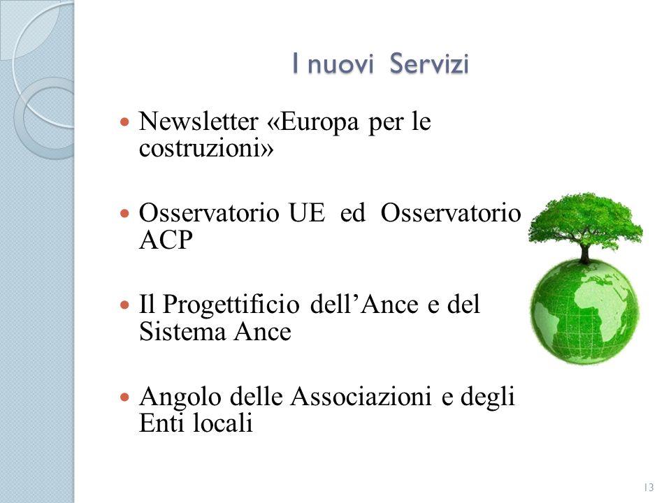 I nuovi Servizi Newsletter «Europa per le costruzioni»