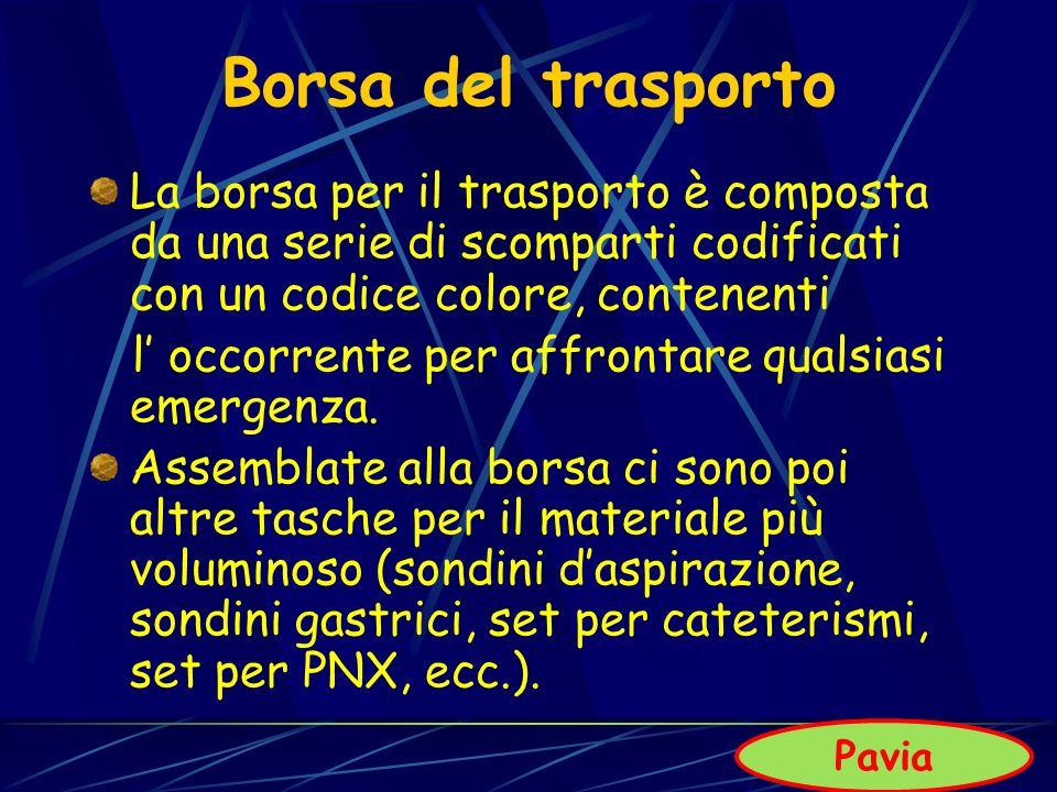 Borsa del trasporto La borsa per il trasporto è composta da una serie di scomparti codificati con un codice colore, contenenti.