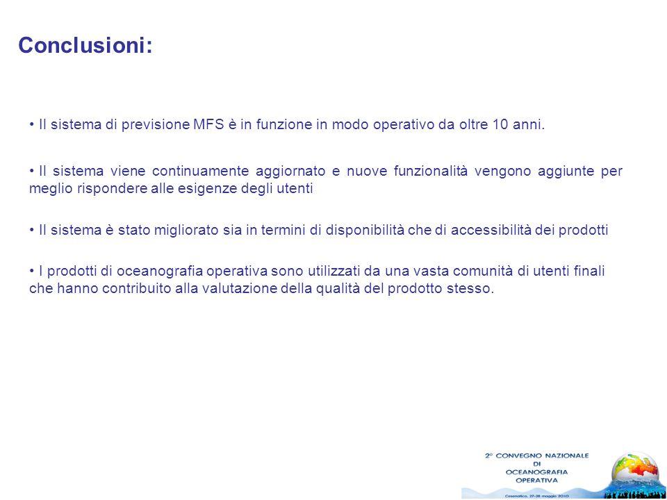 Conclusioni: Il sistema di previsione MFS è in funzione in modo operativo da oltre 10 anni.