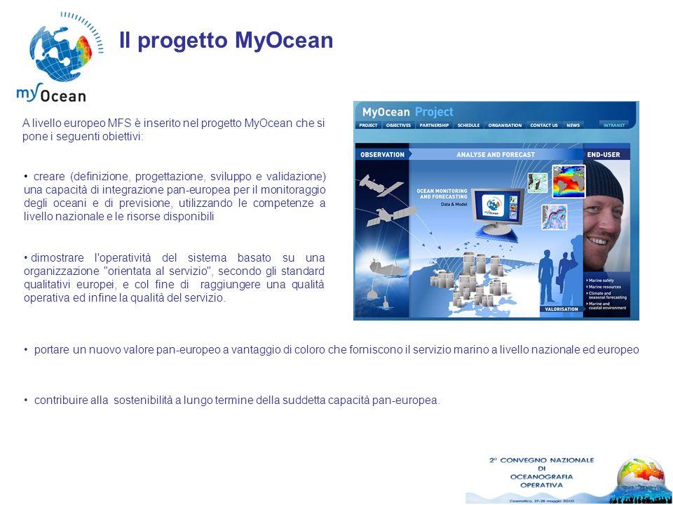 Il progetto MyOcean A livello europeo MFS è inserito nel progetto MyOcean che si pone i seguenti obiettivi: