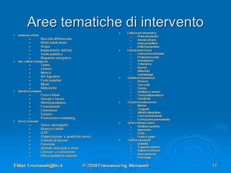 Aree tematiche di intervento