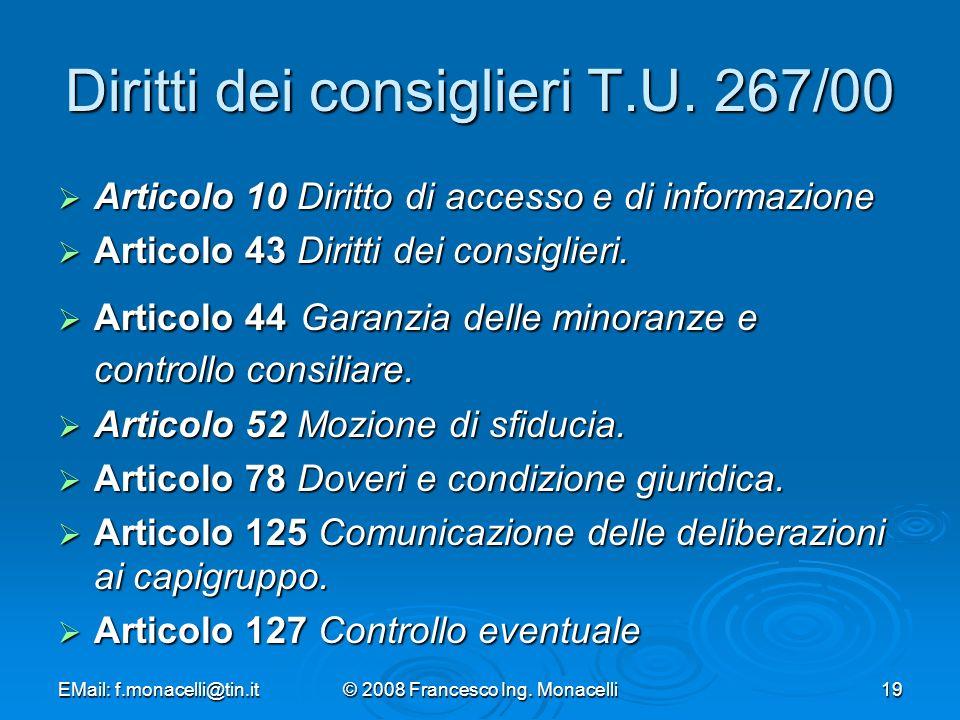 Diritti dei consiglieri T.U. 267/00