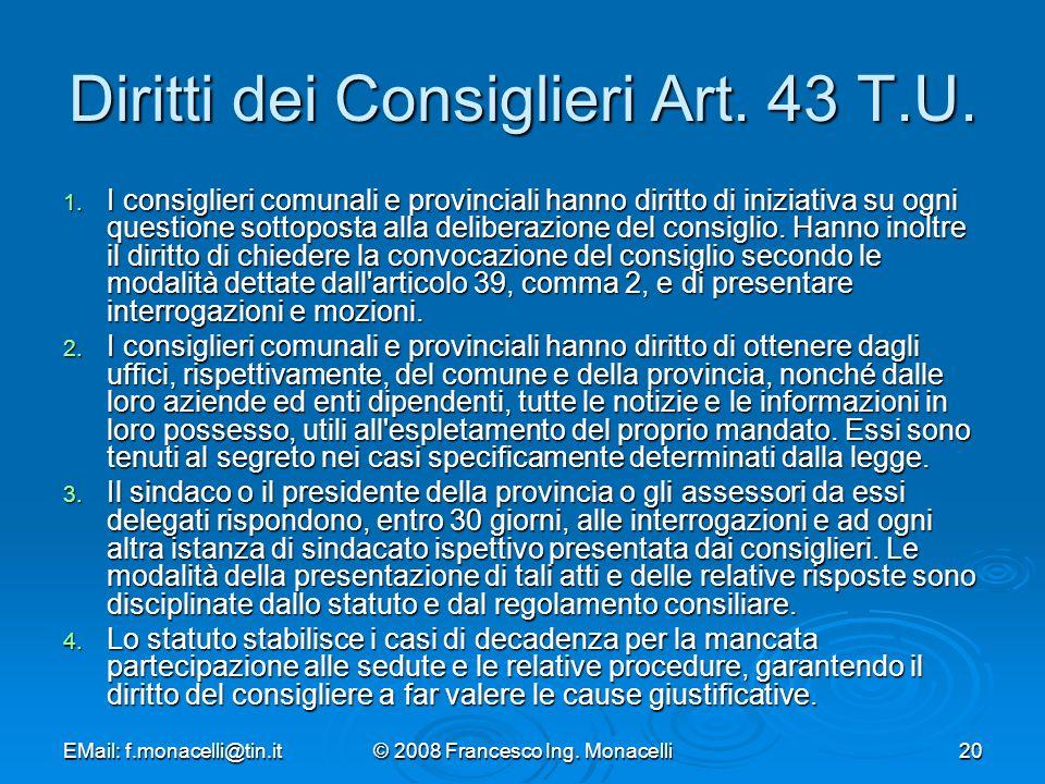 Diritti dei Consiglieri Art. 43 T.U.