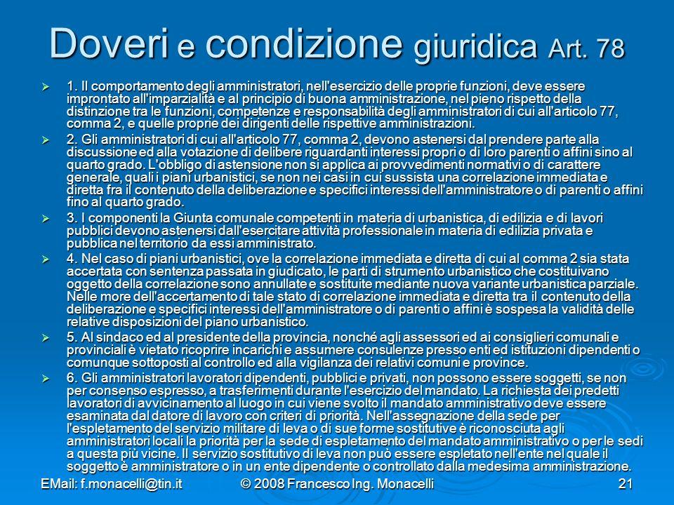 Doveri e condizione giuridica Art. 78