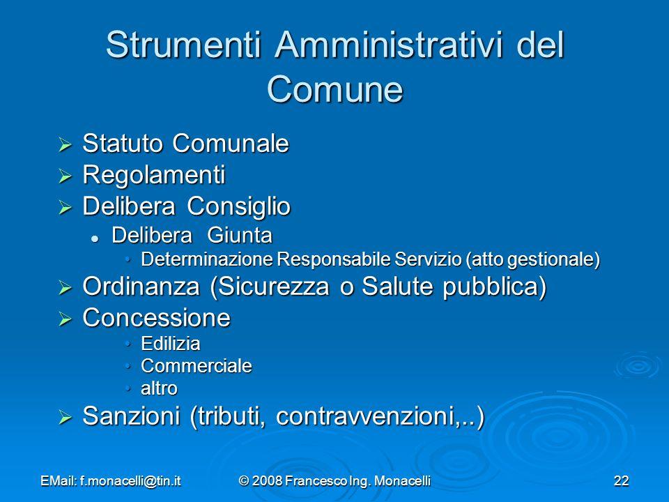 Strumenti Amministrativi del Comune