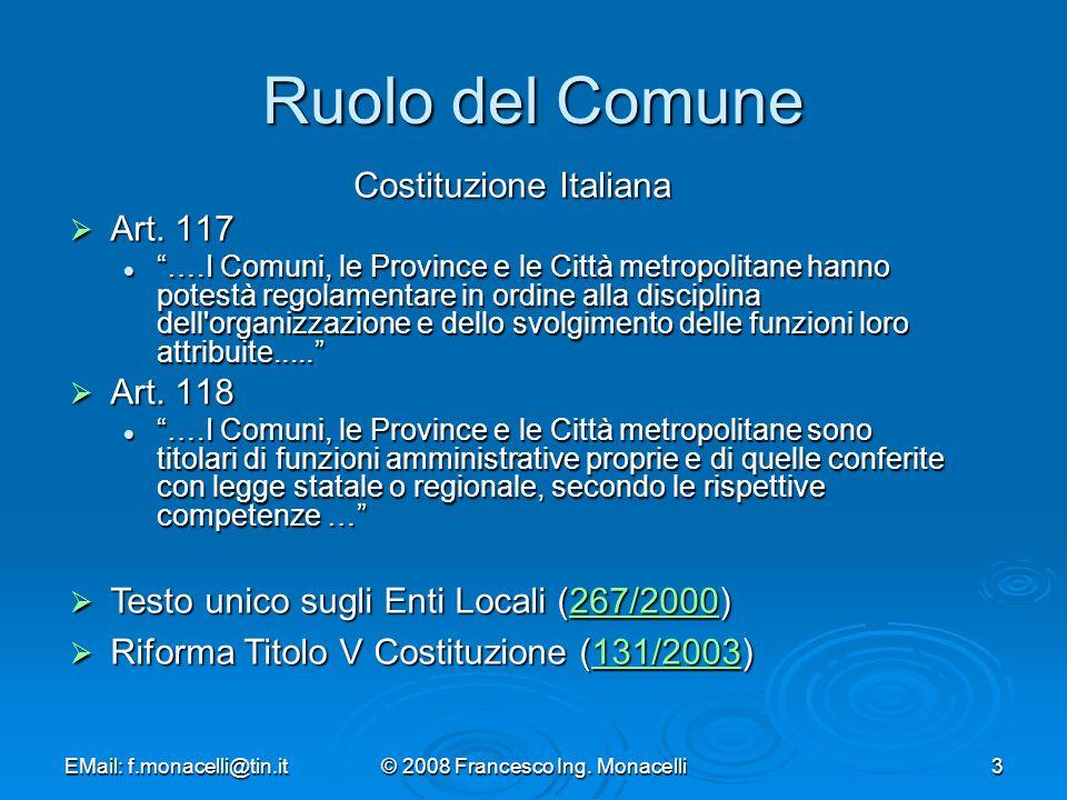 Ruolo del Comune Costituzione Italiana Art. 117 Art. 118