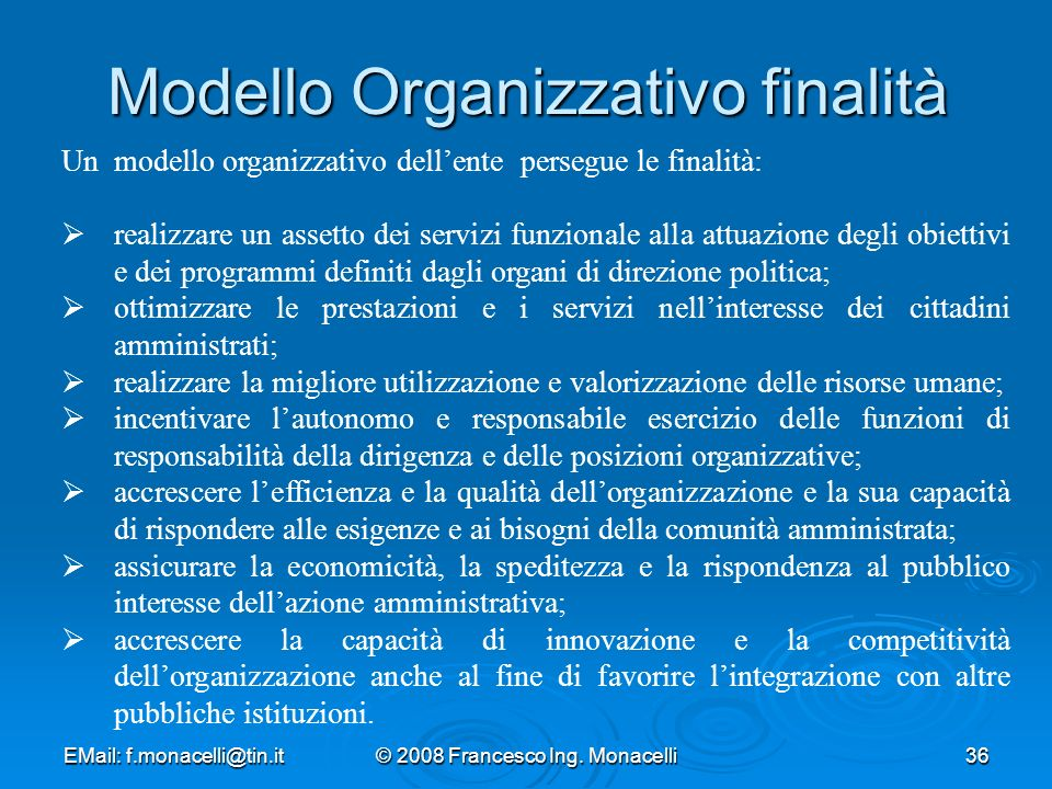 Modello Organizzativo finalità