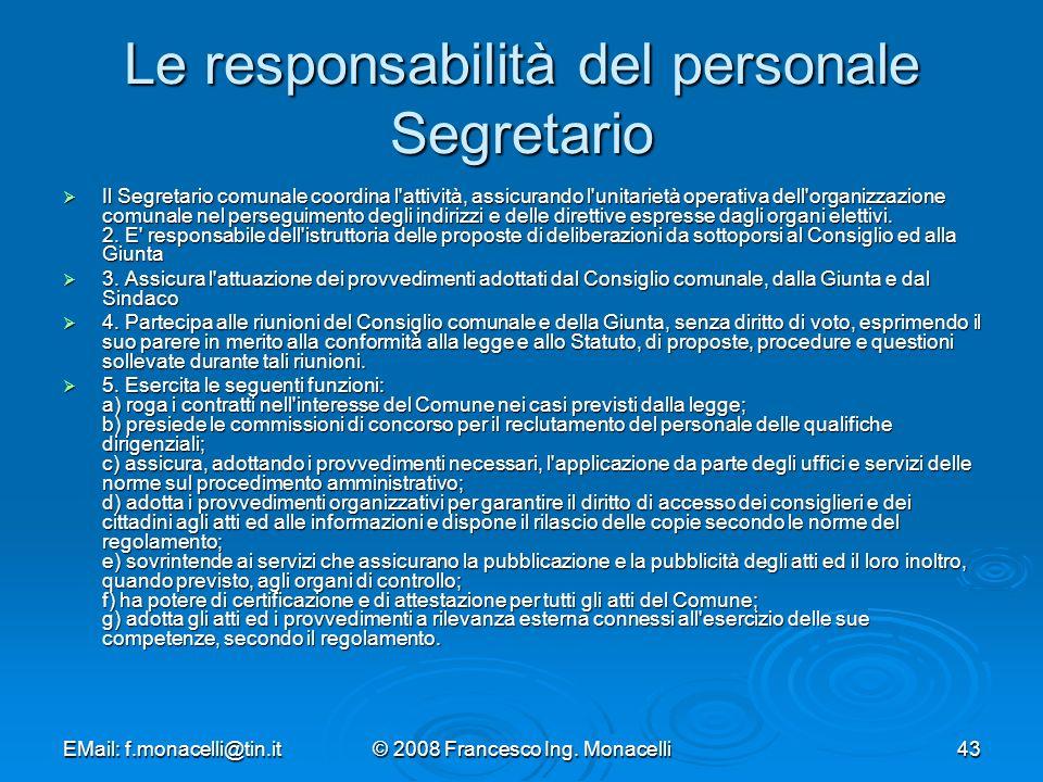 Le responsabilità del personale Segretario