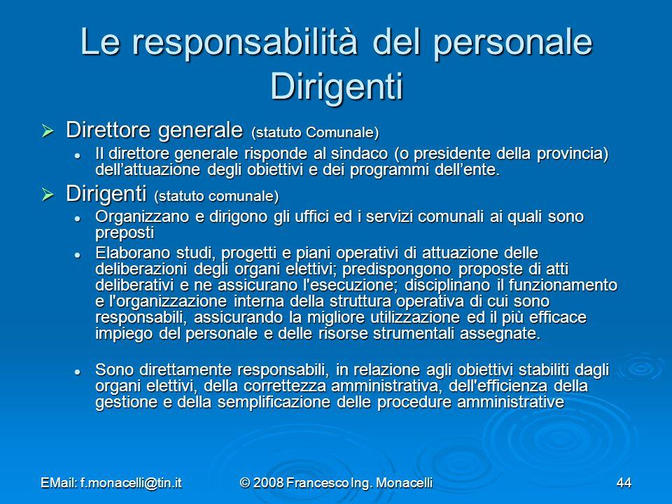 Le responsabilità del personale Dirigenti