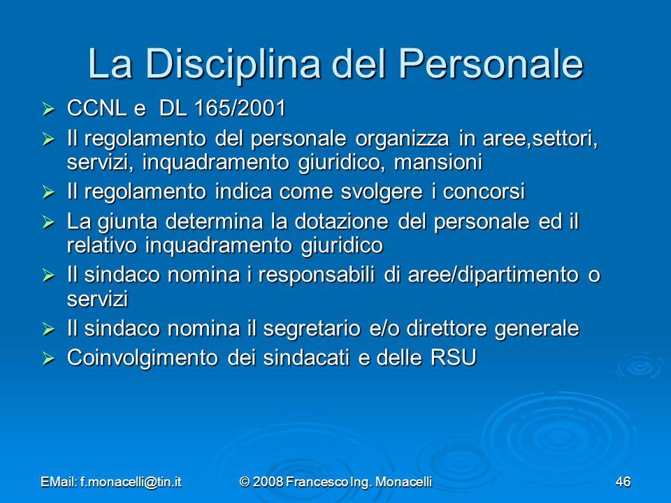 La Disciplina del Personale