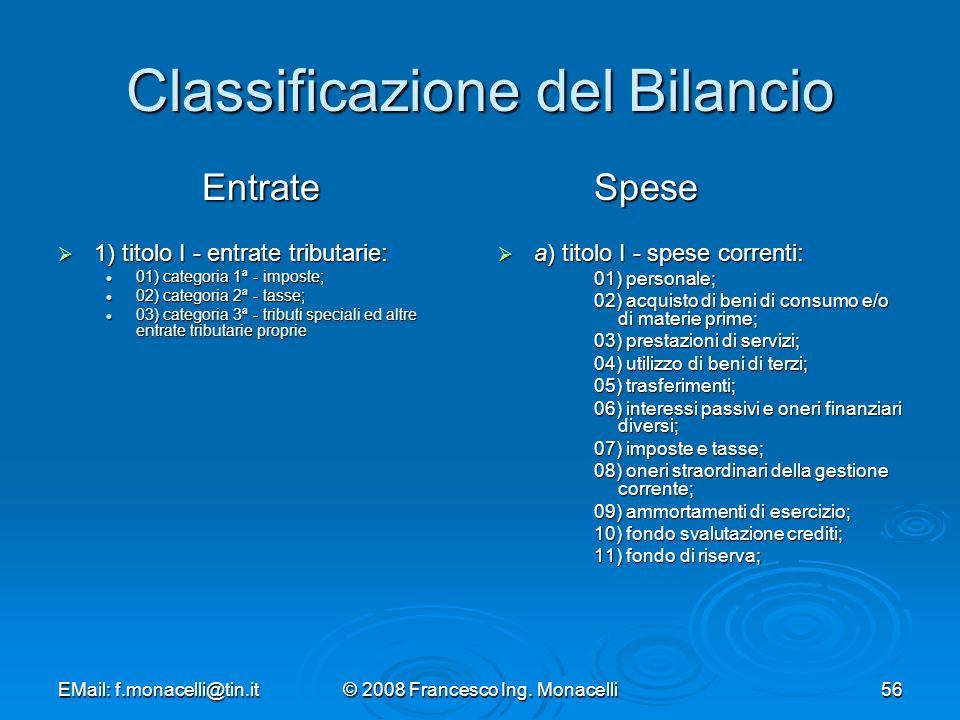 Classificazione del Bilancio