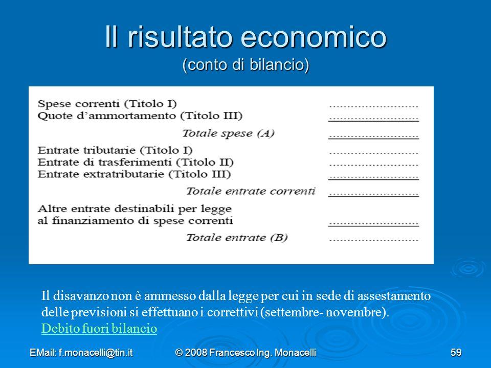 Il risultato economico (conto di bilancio)