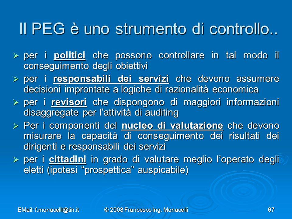 Il PEG è uno strumento di controllo..