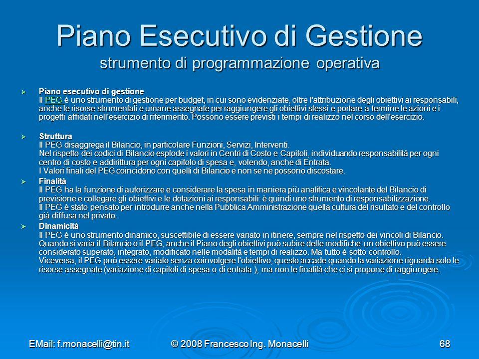 Piano Esecutivo di Gestione strumento di programmazione operativa