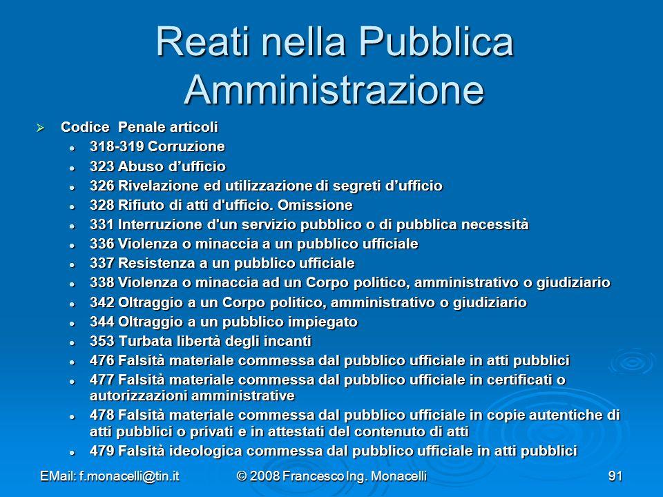 Reati nella Pubblica Amministrazione