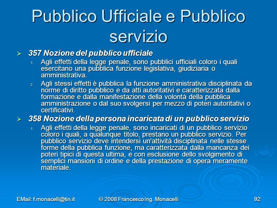 Pubblico Ufficiale e Pubblico servizio