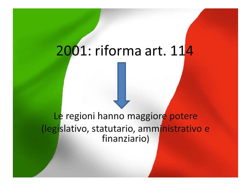 2001: riforma art. 114 Le regioni hanno maggiore potere