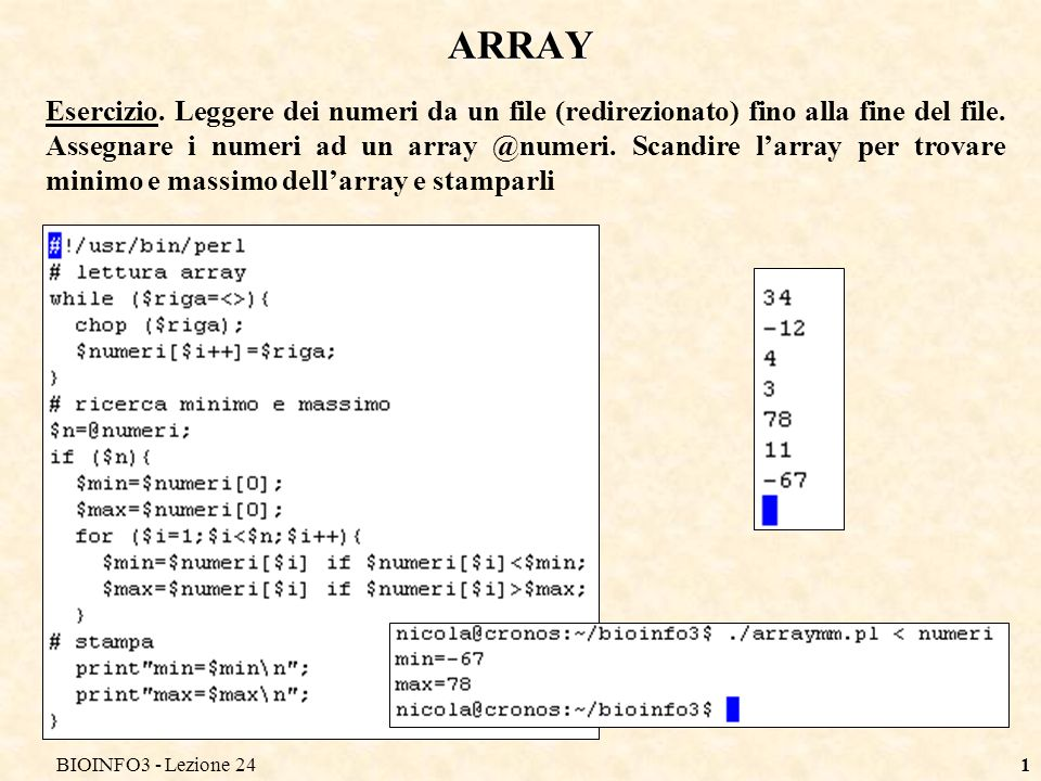 BIOINFO3 - Lezione 24 ARRAY.