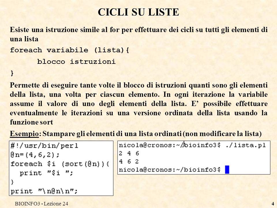 CICLI SU LISTE Esiste una istruzione simile al for per effettuare dei cicli su tutti gli elementi di una lista.