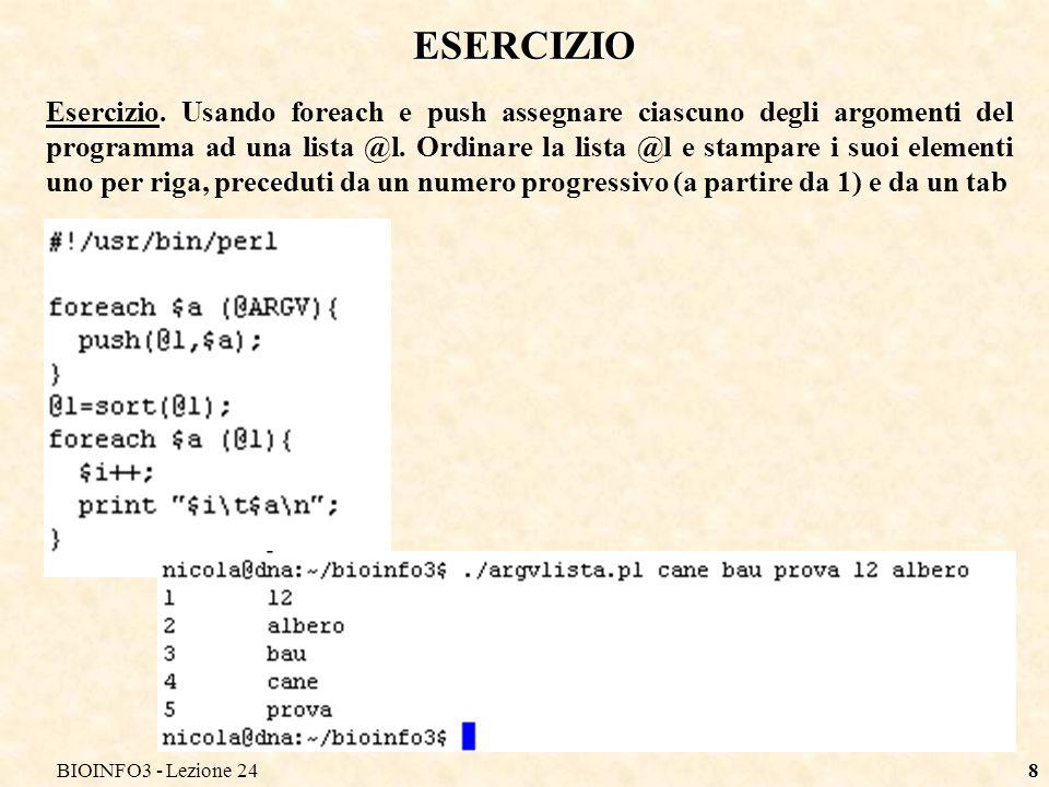 BIOINFO3 - Lezione 24 ESERCIZIO.