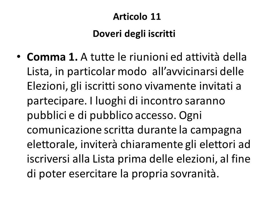 Articolo 11 Doveri degli iscritti
