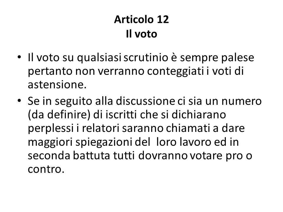 Articolo 12 Il voto Il voto su qualsiasi scrutinio è sempre palese pertanto non verranno conteggiati i voti di astensione.