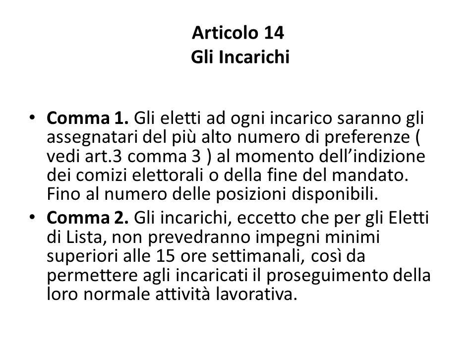Articolo 14 Gli Incarichi